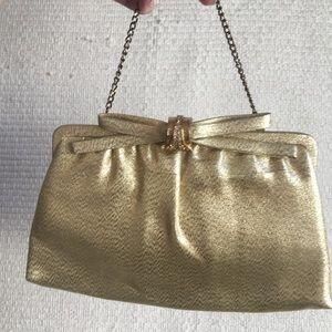 VTG Evening Mini Bag Clutch w Gold Silver & Bow